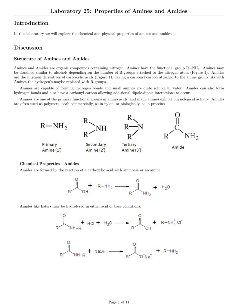 Laboratory 25: Properties of Amines and Amides Introduction