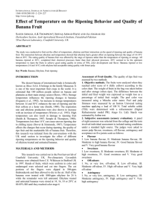 Effect of Temperature on the Ripening Behavior and Quality of