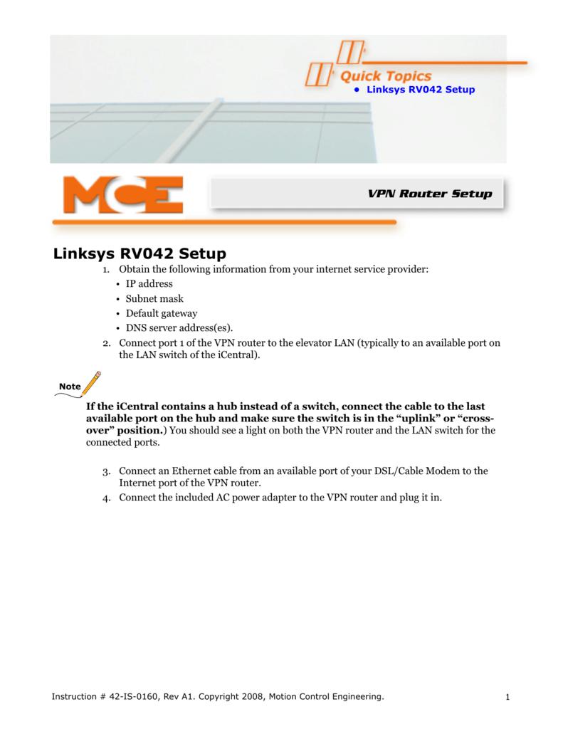 42-IS-0160 A1 VPN Setup