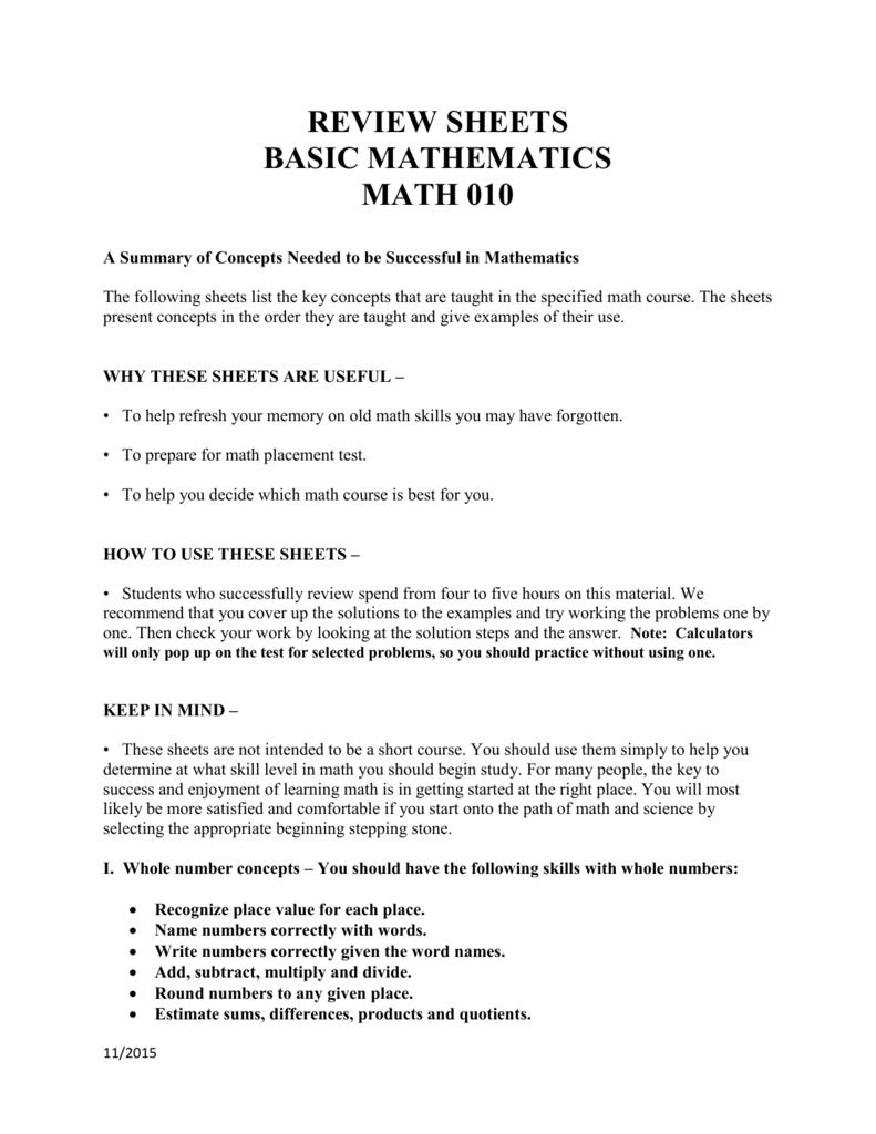 Review Sheets Basic Mathematics Math 010