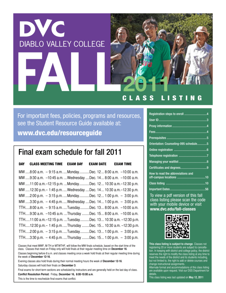 Dvc Summer 2020 Classes.Final Exam Schedule For Fall 2011
