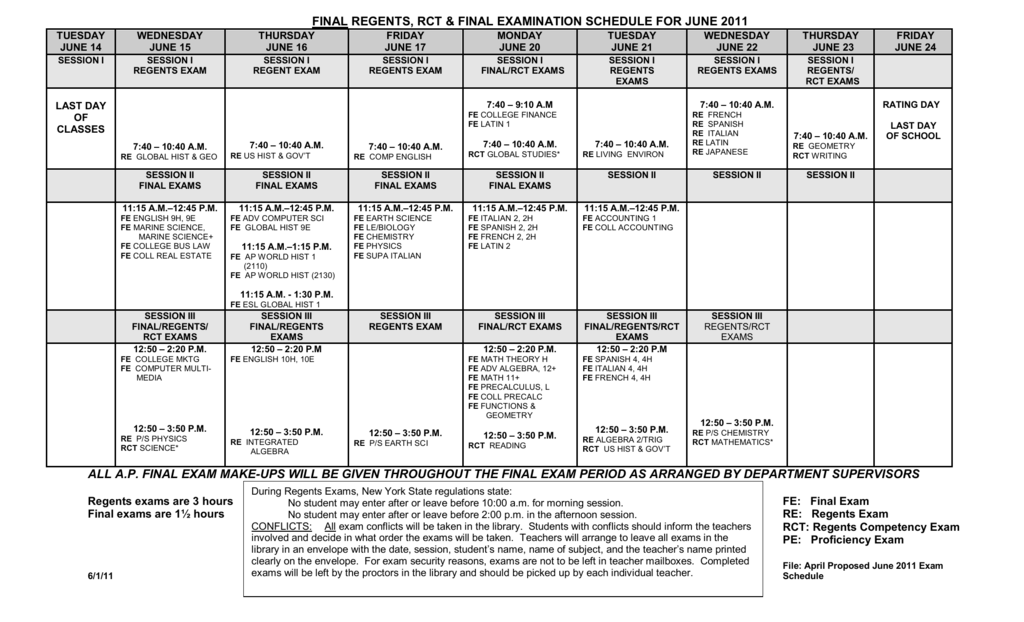 final regents, rct & final examination schedule for june