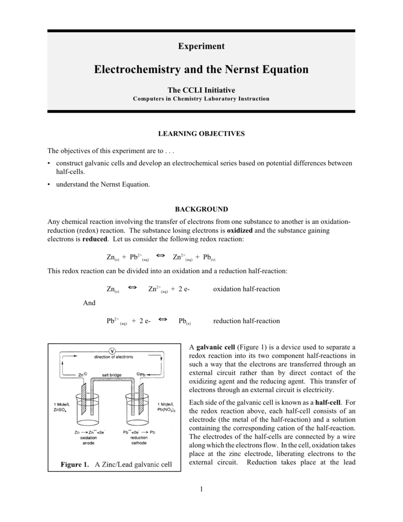 Electrochemistry and the Nernst Equation