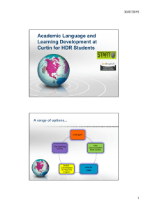 Academic Language and Learning Development at Curtin for HDR