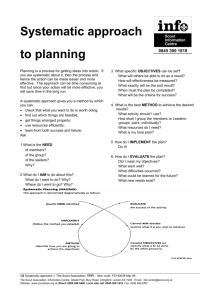 Systematic approach to planning