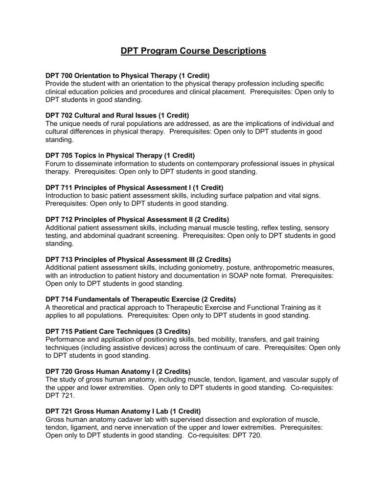 DPT Program Course Descriptions