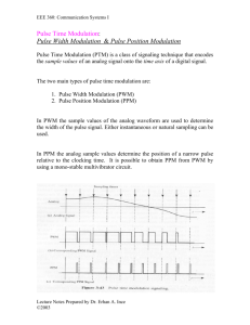 Pulse Time Modulation: Pulse Width Modulation & Pulse