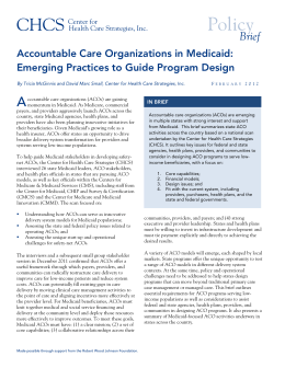 Creating ACOs in Medicaid - Center for Health Care Strategies