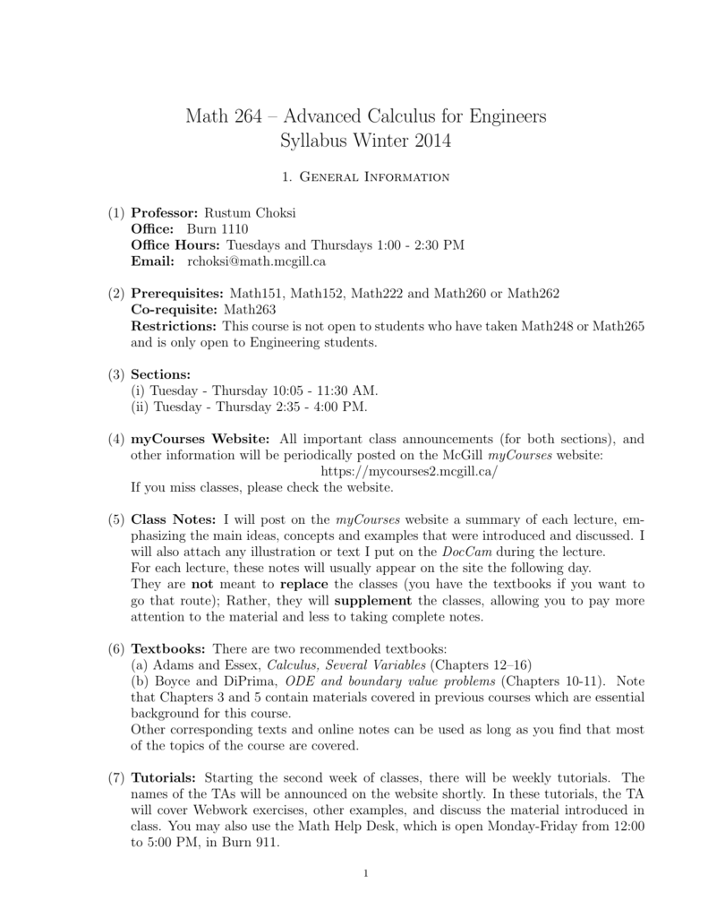 Math 264 – Advanced Calculus for Engineers
