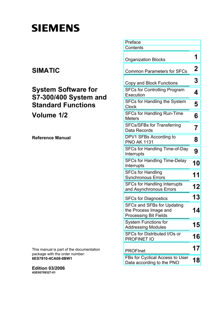 System Software for S7-300/400 System and Standard Functions