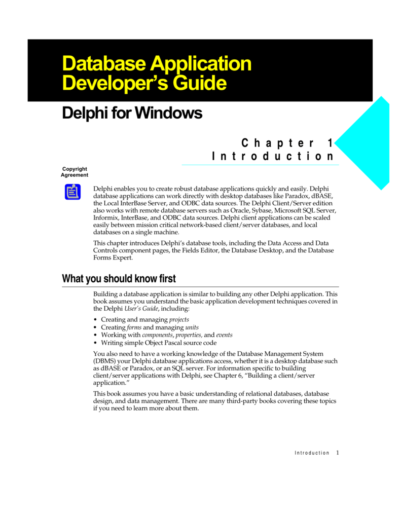 Delphi Database Application Developer's Guide