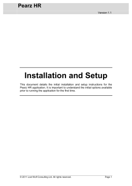 Installation and Setup