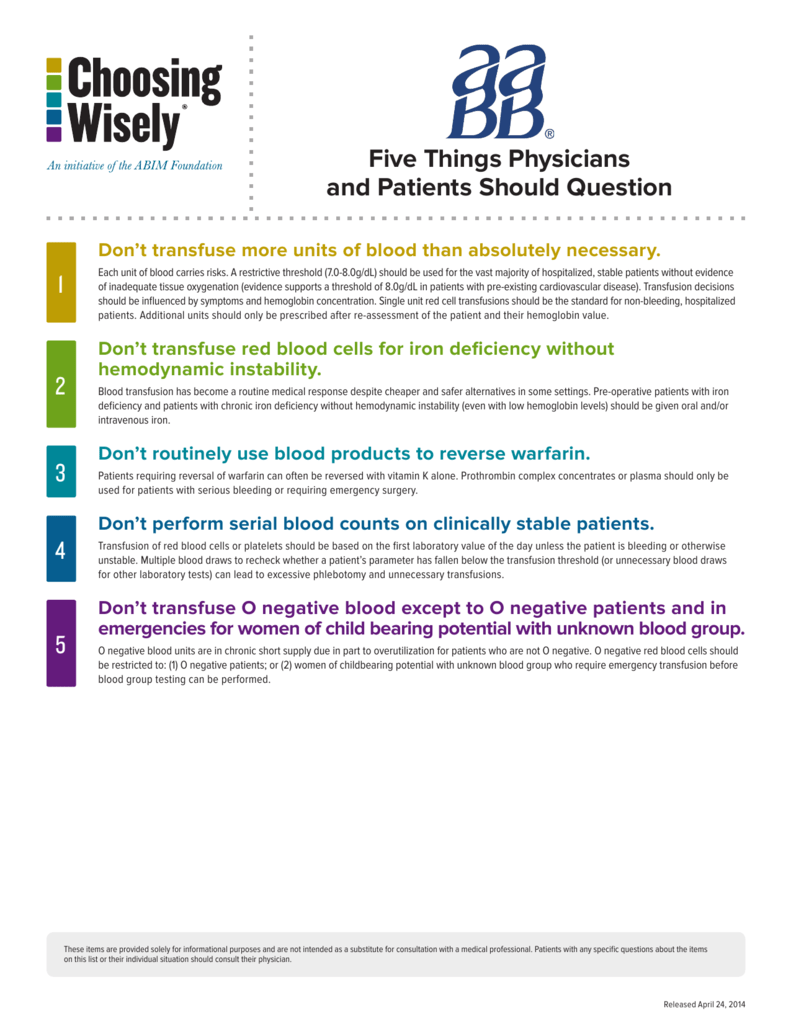 Choosing Wisely - Five Things Physicians and Patients