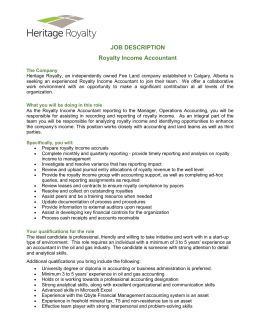 JOB DESCRIPTION Royalty Income Accountant