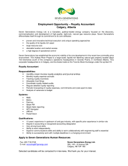 Employment Opportunity – Royalty Accountant Calgary, Alberta