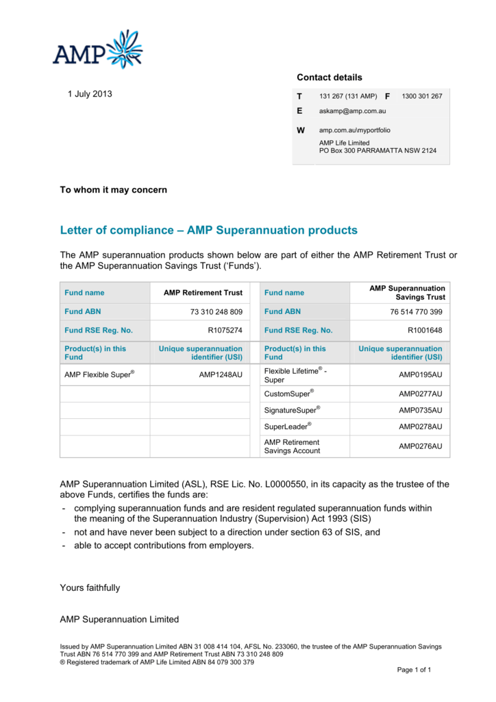 Letter of compliance – AMP Superannuation products