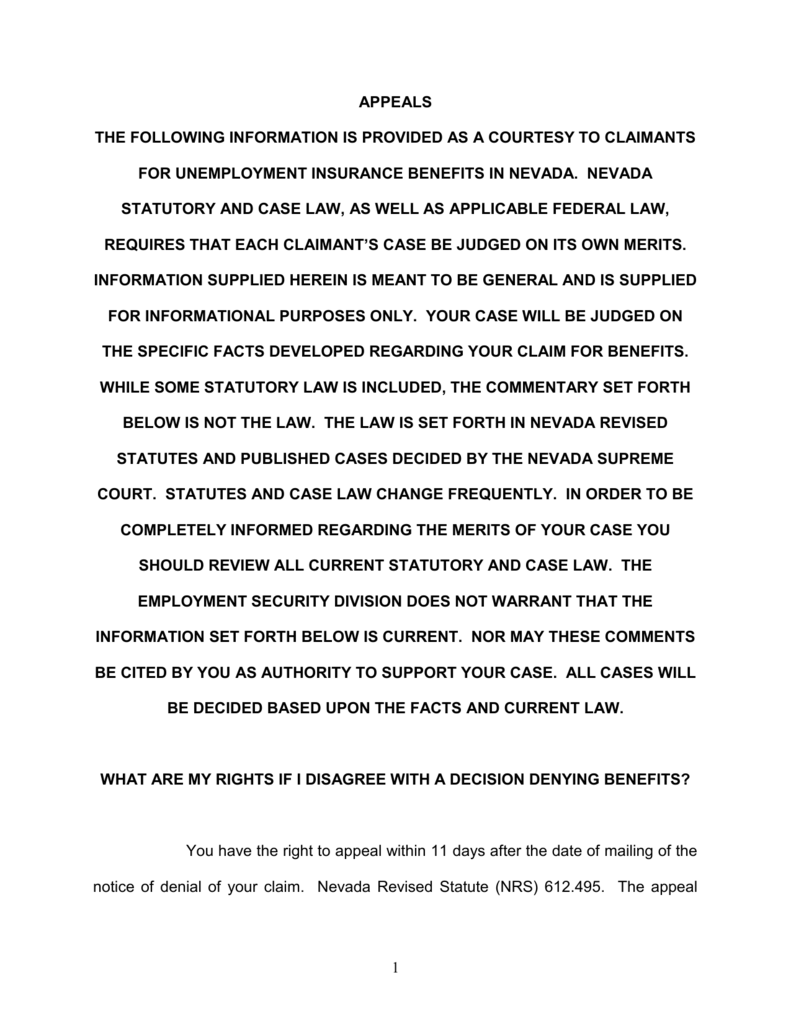 Nevada Revised Statutes >> Appeals The Following Information Is Provided