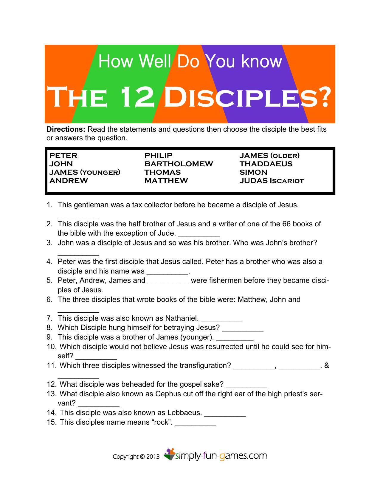 The 12 Disciples Simply Fun Games