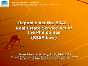 Republic Act No. 9646 : Real Estate Service Act of the