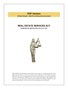 REAL ESTATE SERVICES ACT