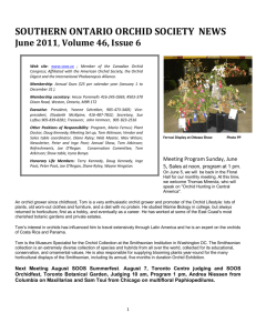 SOUTHERN ONTARIO ORCHID SOCIETY NEWS June 2011