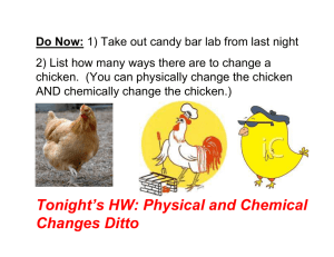 Tonight's HW: Physical and Chemical Changes Ditto