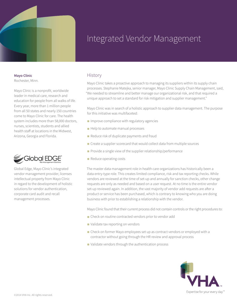 Integrated Vendor Management