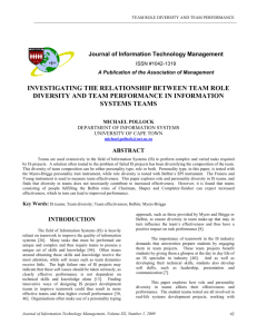investigating the relationship between team role diversity and team