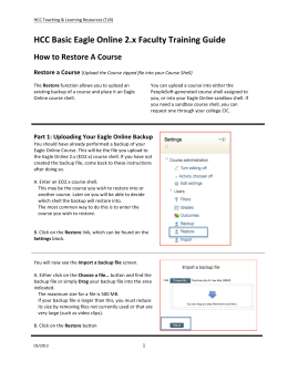 HCC Basic Eagle Online 2.x Faculty Training Guide