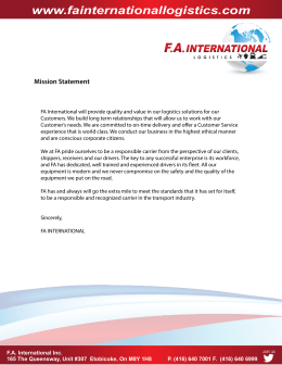 Mission Statement - FA International