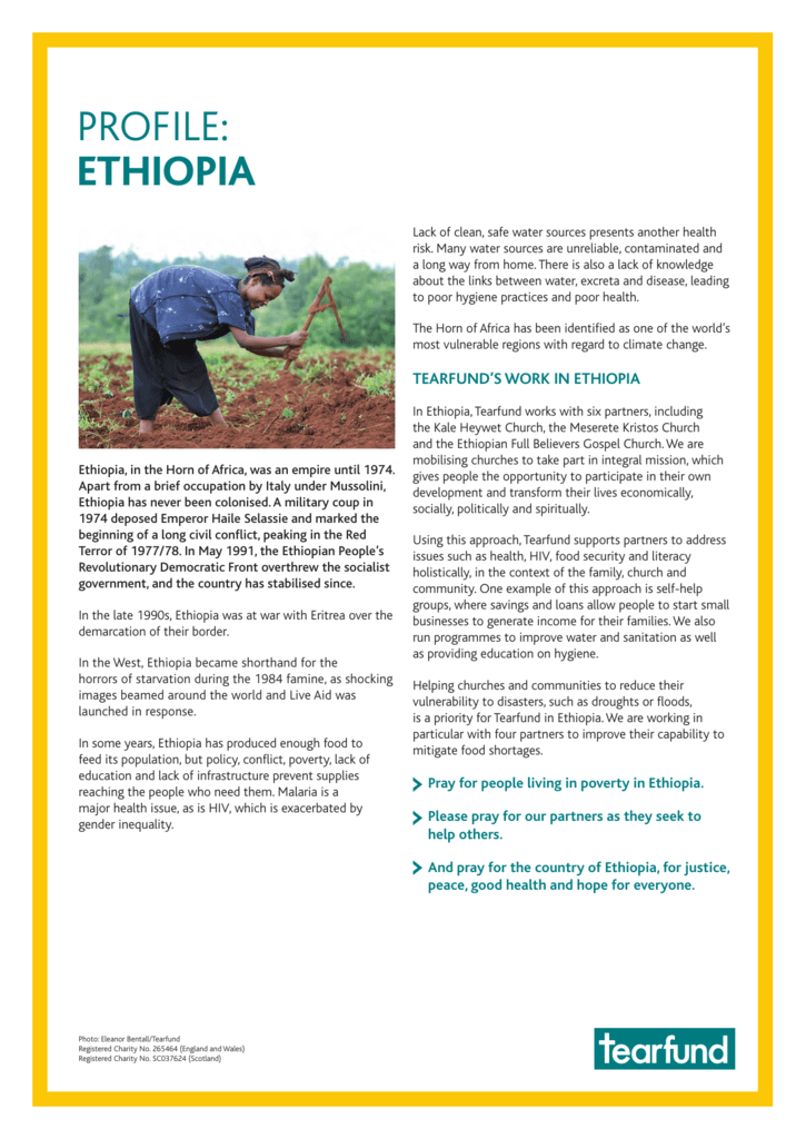 information about Ethiopia, including prayer points (PDF