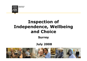 Inspection of Independence, Wellbeing and Choice