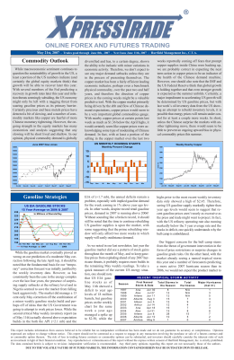 Commodity Outlook Gasoline Strategies