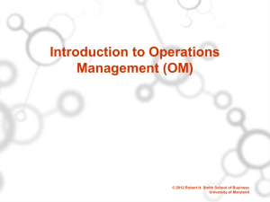 Introduction to Production and Operations Management (POM)