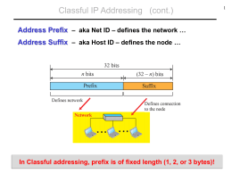 Classful IP Addressing (cont.)