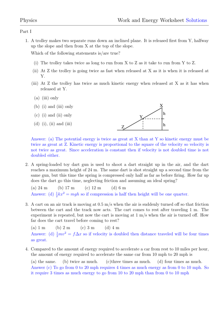 Physics Work and Energy Worksheet Solutions