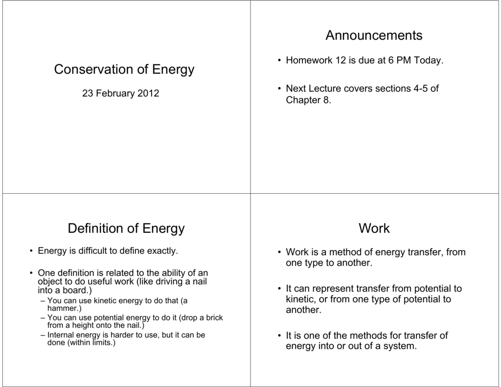 conservation of energy announcements definition of energy work
