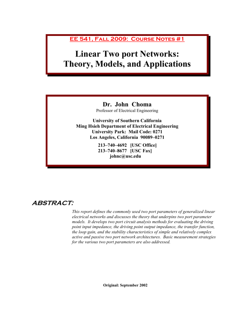 Linear Two Port Networks Electrical Engineering Tutorials Thevenin39s And Norton39s Theorem