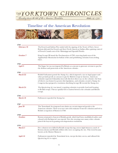 Timeline of the American Revolution