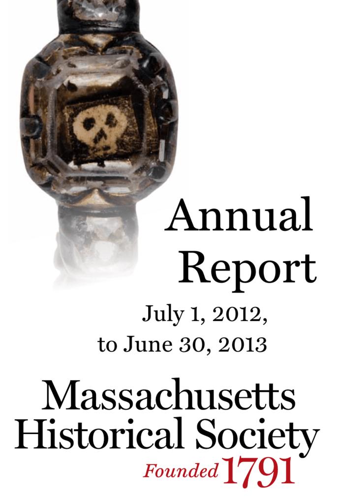 Annual Report Massachusetts Historical Society