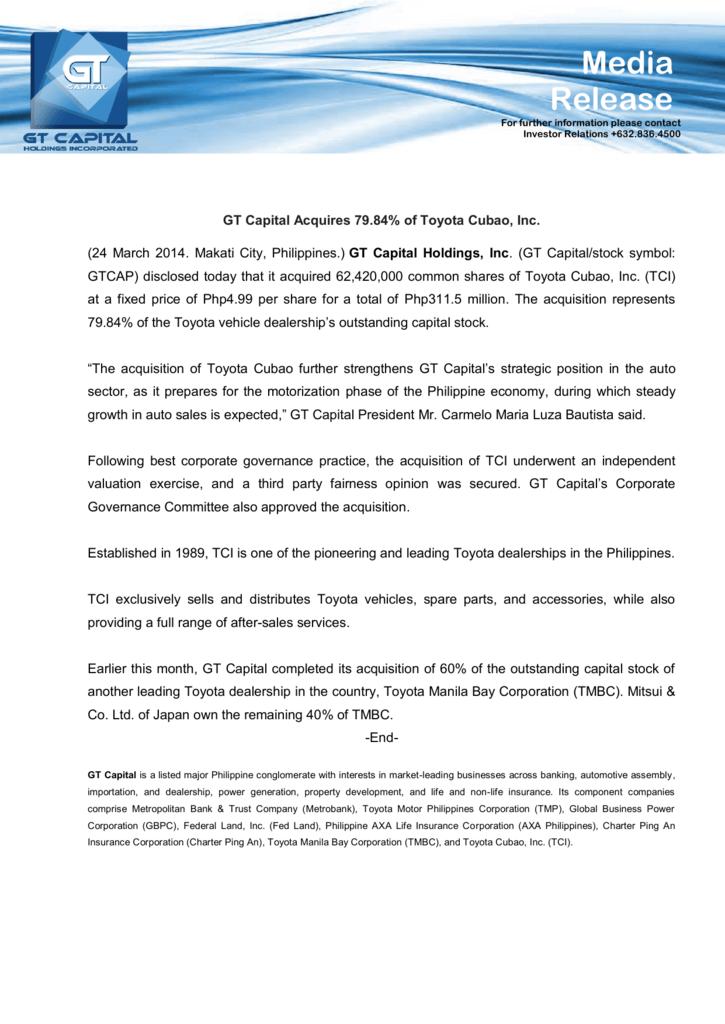 Gt Capital Acquires 7984 Of Toyota Cubao Inc