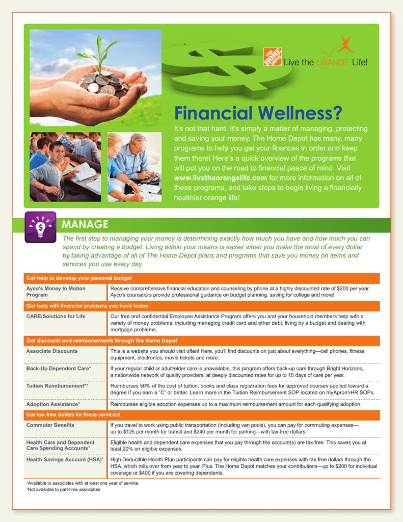 Home Depot Employee Services >> Financial Wellness Home Depot Health Challenge