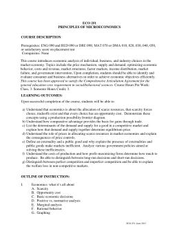 ECO 202: Principles of Microeconomics