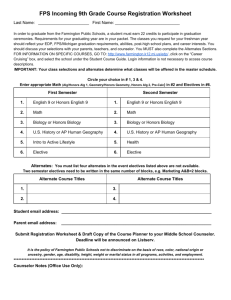 FPS Incoming 9th Grade Course Registration Worksheet