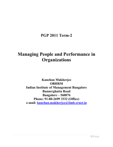 Managing People and Performance in Organizations