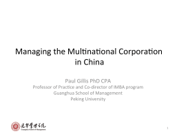 Managing the Muljnajonal Corporajon in China