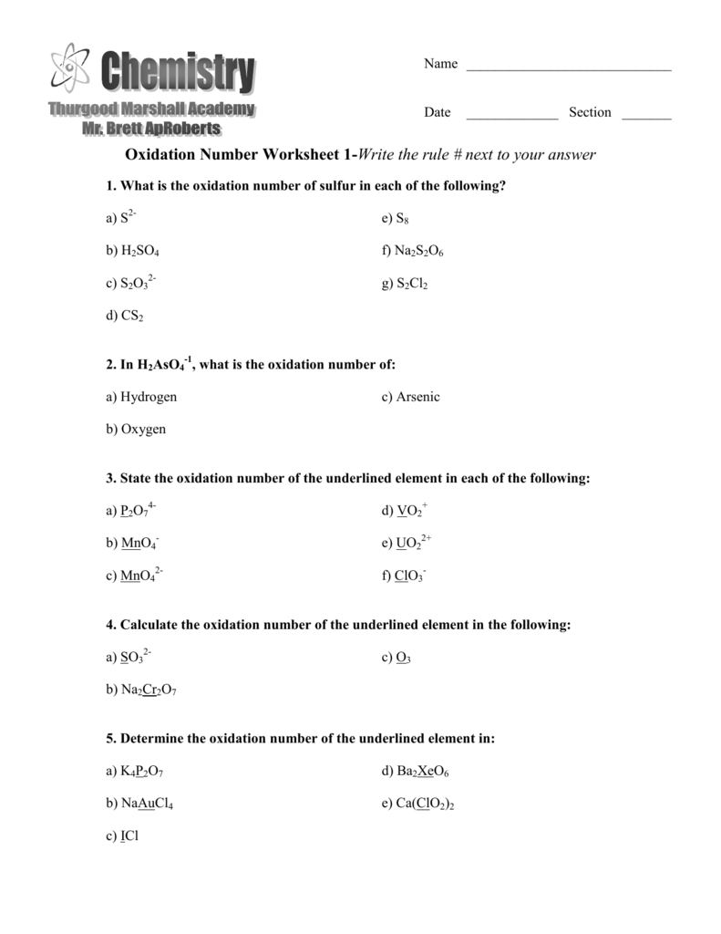 Oxidation Number Worksheet 1Write the rule next to your answer – Assigning Oxidation Numbers Worksheet