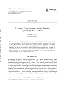 Vygotsky, Consciousness, and the German Psycholinguistic Tradition