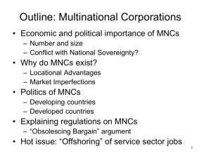 Outline: Multinational Corporations