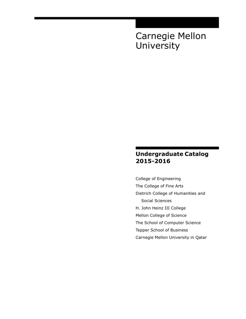 carnegie mellon university undergraduate course catalog